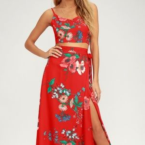 Lulus BLOOM WITH A VIEW RED MAXI TWO PIECE DRESS